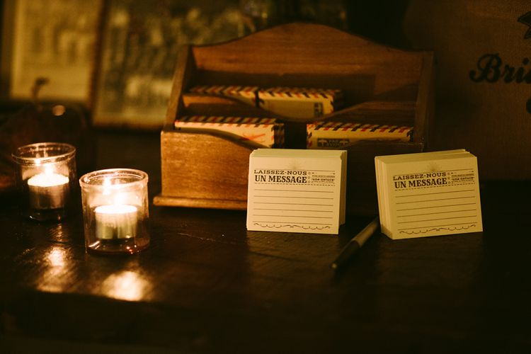 Postcard Guest Book | Stylish Two Day Wedding at Château de Varennes, Burgundy, France with I Do BBQ After Party Planned by Bulle & Tulle | Troistudios Photography | Studio80  Film