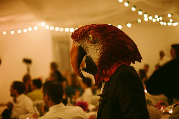Parrot Wedding Mask | Stylish Two Day Wedding at Château de Varennes, Burgundy, France with I Do BBQ After Party Planned by Bulle & Tulle | Troistudios Photography | Studio80  Film