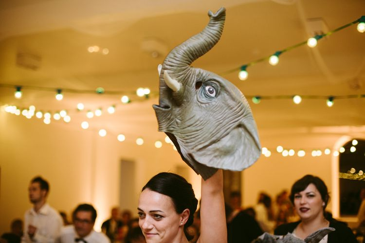Elephant Wedding Mask | Stylish Two Day Wedding at Château de Varennes, Burgundy, France with I Do BBQ After Party Planned by Bulle & Tulle | Troistudios Photography | Studio80  Film