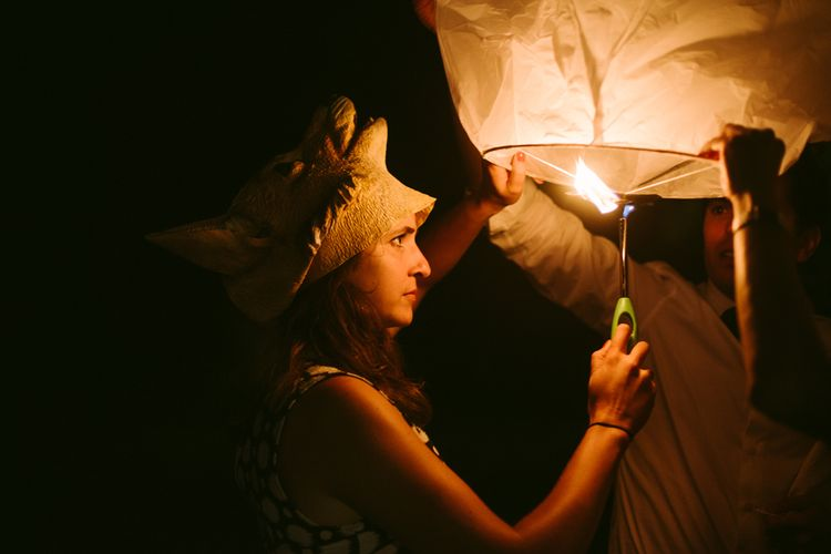 Sky Lantern | Stylish Two Day Wedding at Château de Varennes, Burgundy, France with I Do BBQ After Party Planned by Bulle & Tulle | Troistudios Photography | Studio80  Film