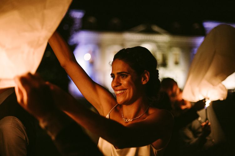 Sky Lantern Release | Stylish Two Day Wedding at Château de Varennes, Burgundy, France with I Do BBQ After Party Planned by Bulle & Tulle | Troistudios Photography | Studio80  Film