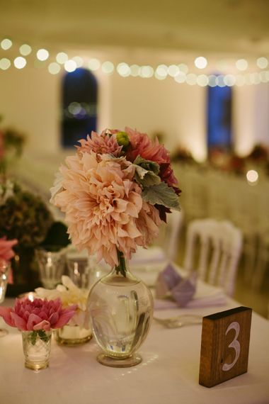 Pink Dahlia Flower Stems in Vase Centrepiece | Stylish Two Day Wedding at Château de Varennes, Burgundy, France with I Do BBQ After Party Planned by Bulle & Tulle | Troistudios Photography | Studio80  Film