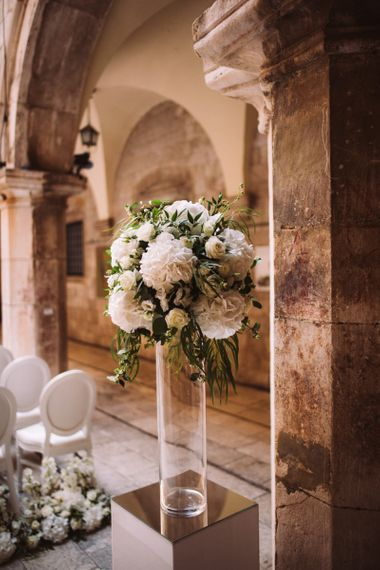 Tall White Wedding Reception Flowers with Hydrangeas  and Roses