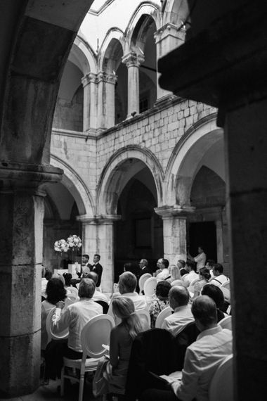 Black and White Portrait of Wedding Ceremony at 16 Century Palace in Croatia