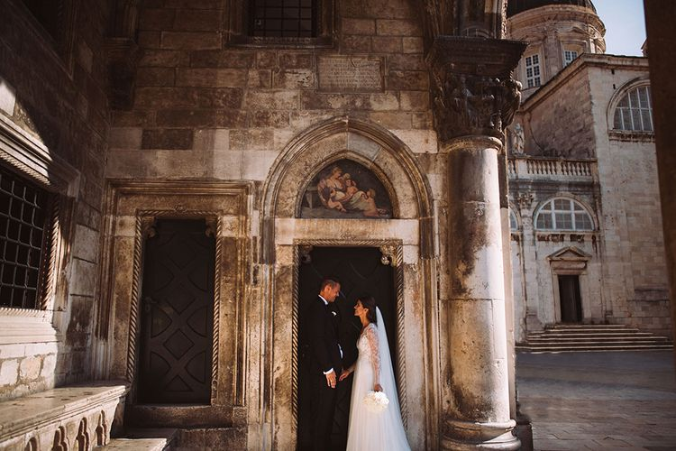 Bride and Groom Portrait at 16th Century Palace in Croatia