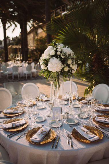 Outdoor Wedding Reception Table Centrepiece Decor