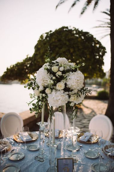 Tall White Hydrangea and Rose Floral Arrangement