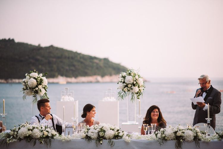 Father of the Bride Wedding Speech with White Top Table Wedding Flowers