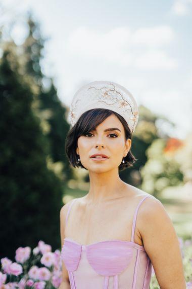 Pink Strap Wedding Dress and Ornate Bridal Headdress