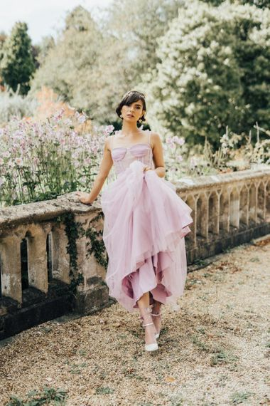 Beautiful Bride in Pink Tulle Wedding Dress with Fitted Bodice and Straps