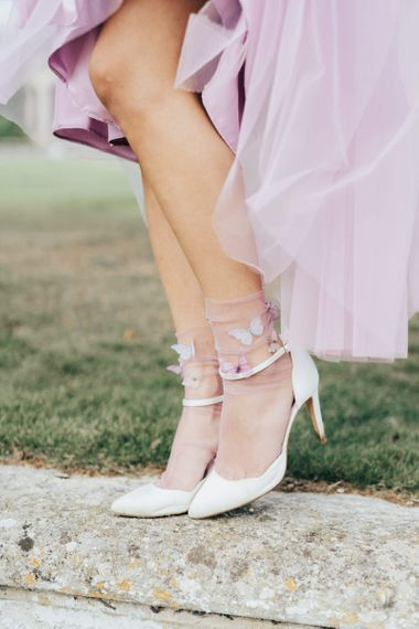 Ankle Strap Court Shoes with Butterfly Embellished Socks