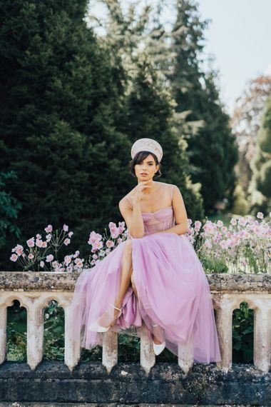 Stylish Bride in Lilac Emma Beaumont Wedding Dress and Hermione Harbutt Headdress