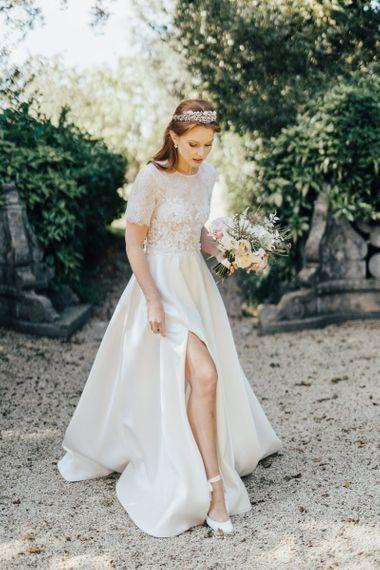 Front Split Wedding Dress with Delicate Crown Headdress