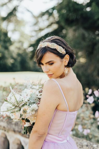 Bride in Embellished Alice Band with Matching Earrings
