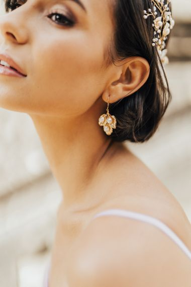Gold and Peal Leaf Earring