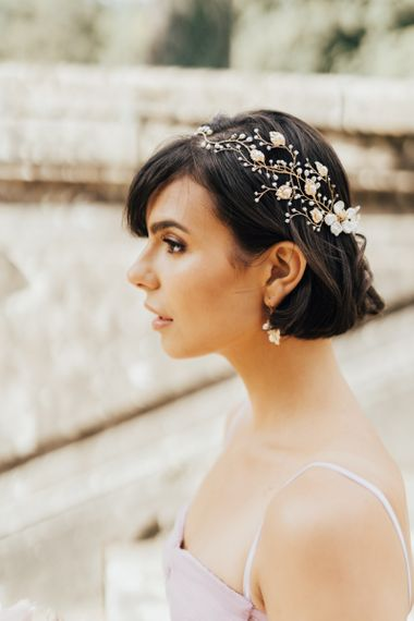 Bride with Short Bob in Pearl Hair Vine