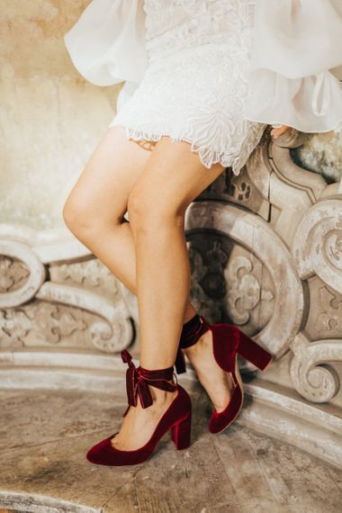 Red Velvet Shoes with  Ankle Ribbon