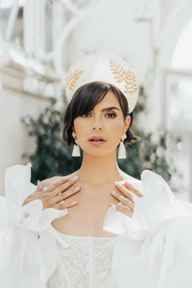 Bride with Short Bob Hair Wearing an Embroidered Headdress and Tassel Earrings