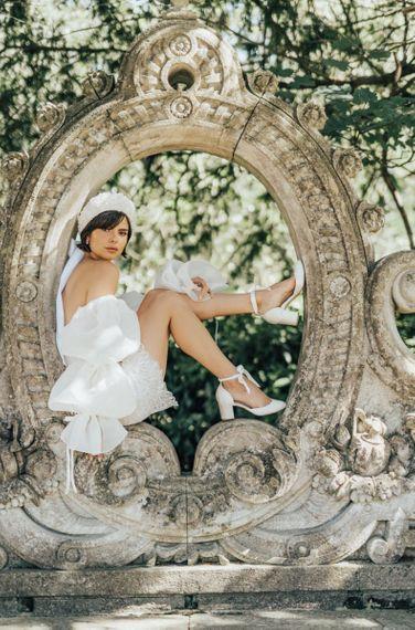 Bride in Short Wedding Dress Wear Ankle Strap Wedding Shoes