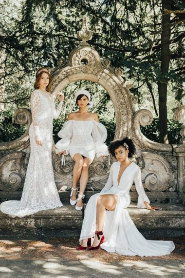 Three Beautiful Brides in Emma Beaumont Wedding Dresses and Hermione Harbutt Bridal Accessories