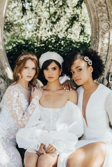 Three Beautiful  Bride in Hermione Harbutt Wedding Hair Accessories