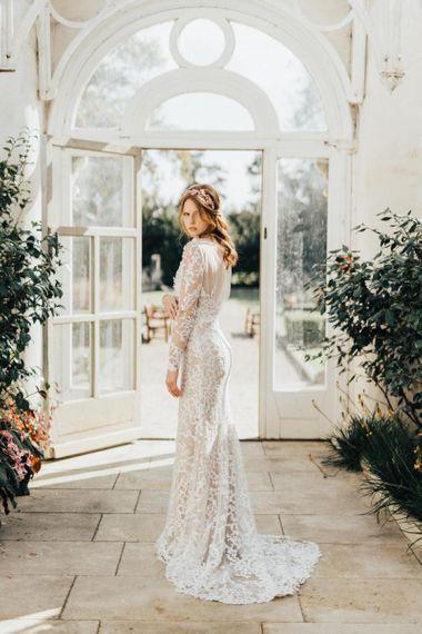 Bride in Lace Emma Beaumont Wedding Dress Wearing a Rose Gold Headdress