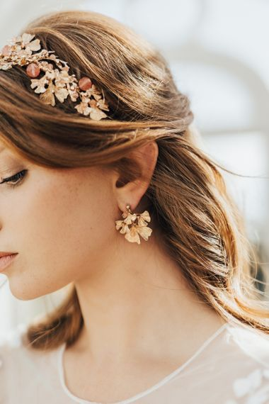 Intricate Rose Gold and Gold Bridal Headdress and Matching Earrings
