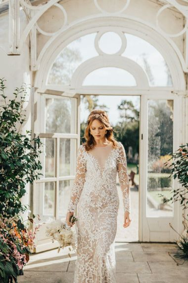 Bride in Lace Emma Beaumont Wedding Dress Wearing a Rose Gold Bridal Hair Accessory