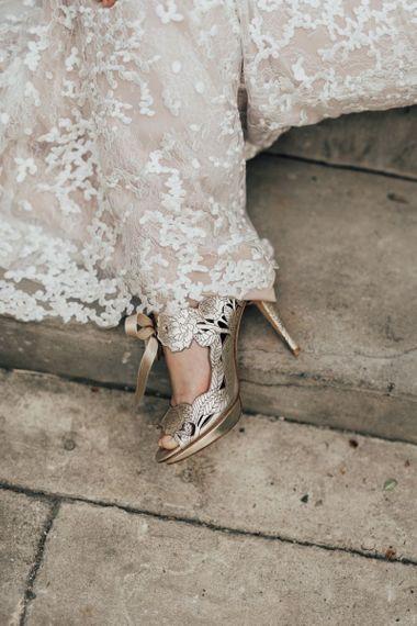 Gold Harriett Wilde Wedding Shoes with Lasercut Detail
