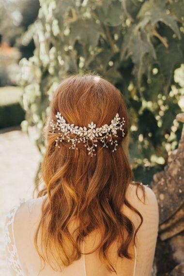 Half Up Half Down Wedding Hair with Wedding Hair Accessory