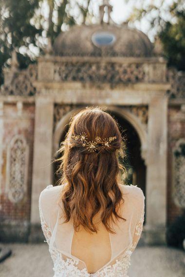 Half Up Half Down Wedding Hair with Gold Star Bridal Hair Clips