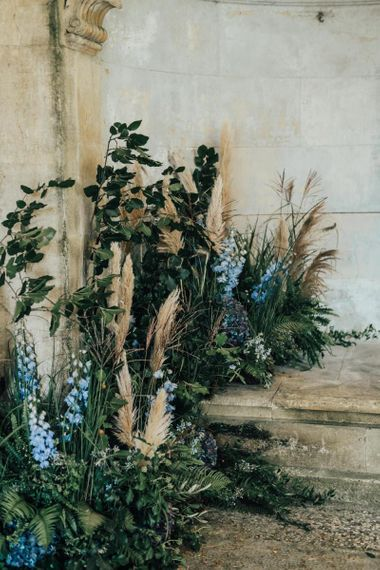 Wedding Floral Arrangement with Foliage, Blue Flowers and Pampas Grass