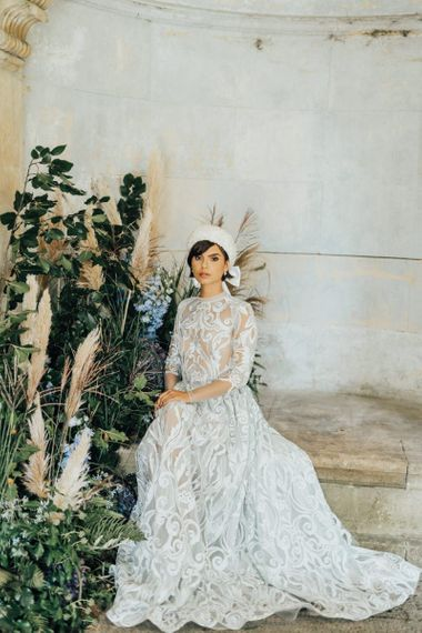 Bride in Lace Emma Beaumont Wedding Dress and Hermione Harbutt Headband