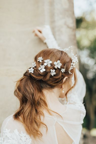 Twisted Ponytail Bridal Updo with Flower Hair Clips Entertwined