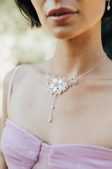 Delicate White Flower Necklace Bridal Accessory