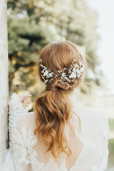 Twisted Ponytail Bridal Updo with Ornate Hair Accessory