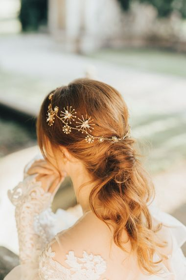 Twisted Ponytail Bridal Hair with Gold Star Wedding Hair Accessory