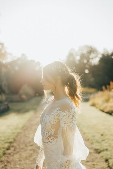 Golden Hour Portrait with Bride in Lace Emma Beaumont Wedding Dress with Long Sleeves