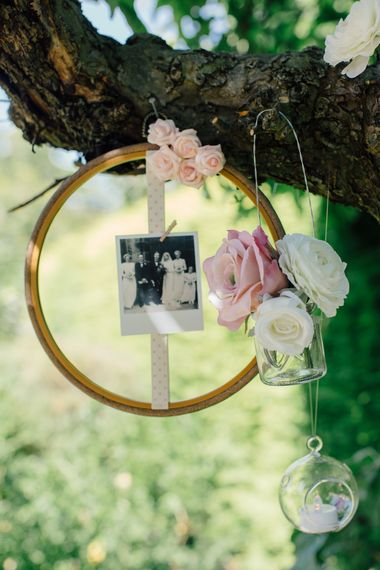 How to create a simple DIY Family Tree with wedding photos using embroidery hoops, ribbon, polaroid photos, mini pegs and flowers