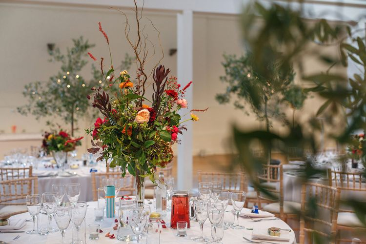 Colour Pop Wedding Reception Decor | Holkham Hall Norfolk Wedding Venue | How to Theme Your Wedding to Compliment Your Wedding Venue | Chris Taylor Photography