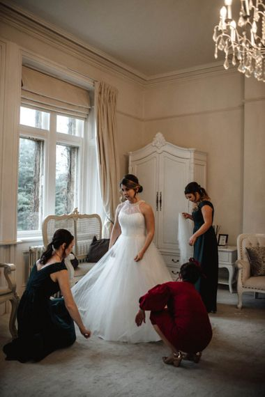 Wedding Morning Bridal Preparations with Bride in Halterneck Wedding Dress