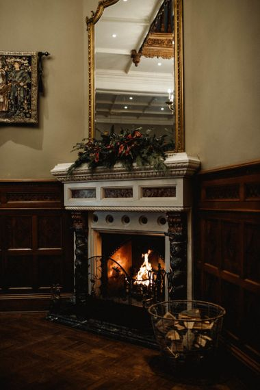 Roaring Fireplace at Manor by The Lake in The Cotswolds