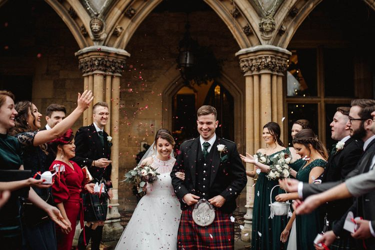 Confetti Exit with Bride in Halterneck Wedding Dress and Groom in Tartan Kilt