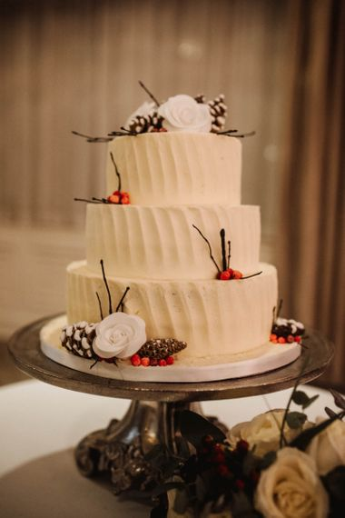 Three Tier Wedding Cake with Buttercream Icing and Winter Wedding Decor