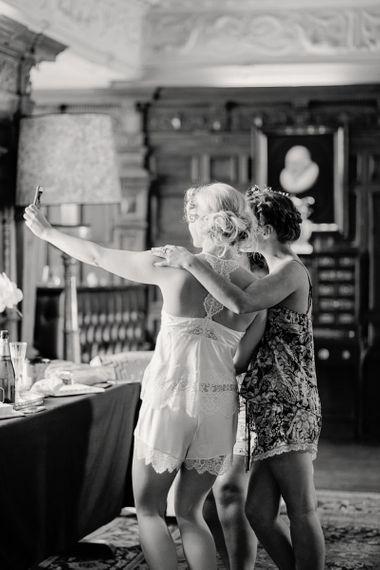 Wedding Morning Bride and Bridesmaid Selfie