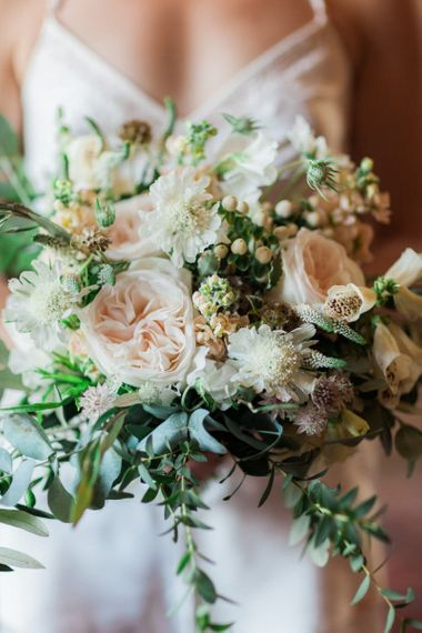 Romantic Pastel Pink, White and Green Wedding Bouquet