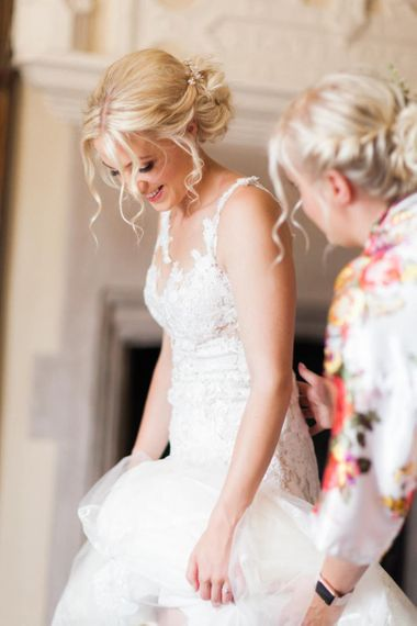 Wedding Morning Bridal Preparations with Bride in Lace Wedding Dress