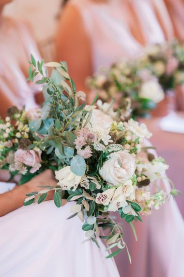 Romantic Blush Pink, White and Green Bridesmaid Bouquet