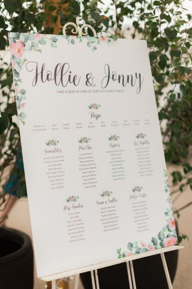 Pink and Green Floral Motif Seating Chart