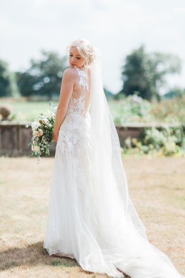 Beautiful Bride in Lace and Tulle Pronovias Wedding Dress